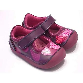 Lea Lelo Girls Purple Leather First Shoes With Hearts And Butterflies | Lea Lelo