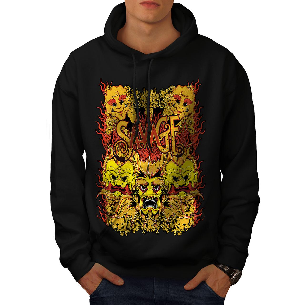 Savage Devil Japan Horror Men Black Hoodie | Wellcoda