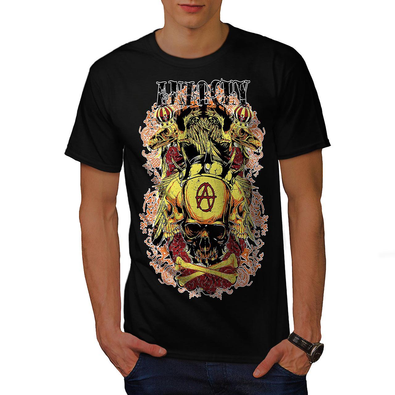 Anarchy Death Eagle Skull Men Black T-shirt | Wellcoda