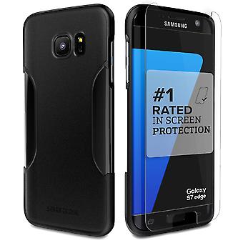 SaharaCase Galaxy S7 borde Escorpión Negro protección caso, clásico Kit con ZeroDamage vidrio templado