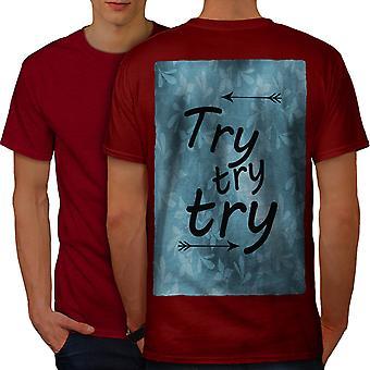 Try Motivational Slogan Men RedT-shirt Back | Wellcoda