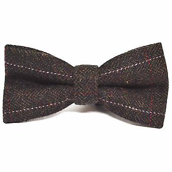 Luxury Herringbone Chocolate Brown Bow Tie, Tweed