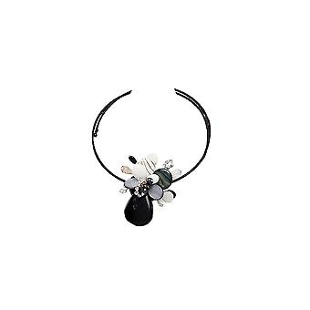 Flower in Gemstones necklace black and white