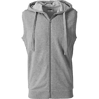 Urban Classics - TERRY Hooded Zip Weste grau