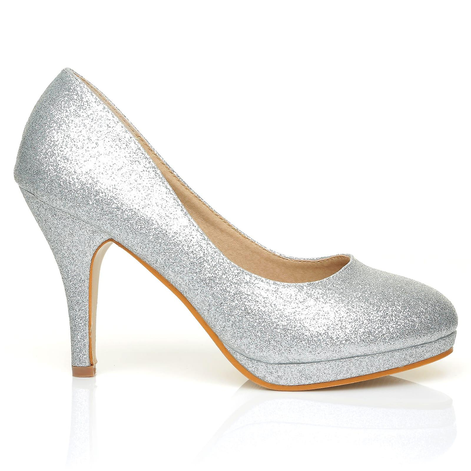 CHIP Silver Low Glitter Pumps Mid-High Heel Low Silver Platform Office Court Shoes e00585