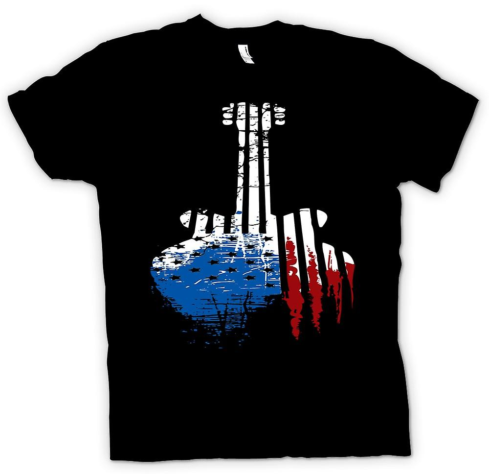 Womens T-shirt - Gibson SG Guitar USA Flag - Grunge