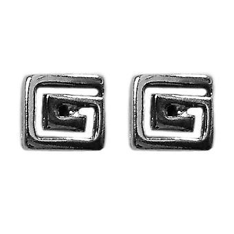 Argent sterling Rhodium plaqué grec Meandros clés boucles d'oreilles, 6 x 6mm