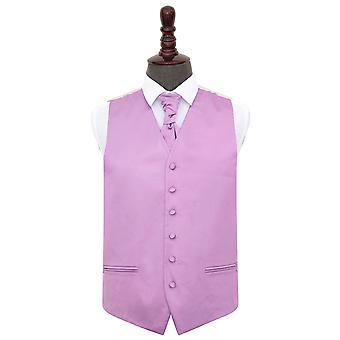 Lilla almindelig Satin bryllup vest & Cravat sæt