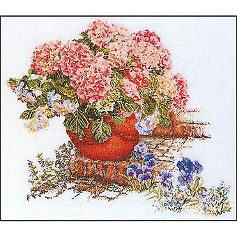 Hydrangea & Pansies On Aida Counted Cross Stitch Kit-17.75