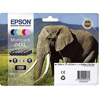 Epson Ink T2438, 24XL Original Set Black, Cyan, Magenta, Yellow, Light cyan, Light magenta C13T24384011