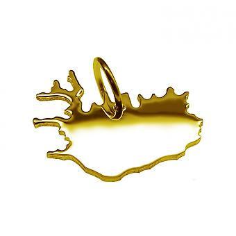 Trailer map ISLAND pendant in solid 585 yellow gold