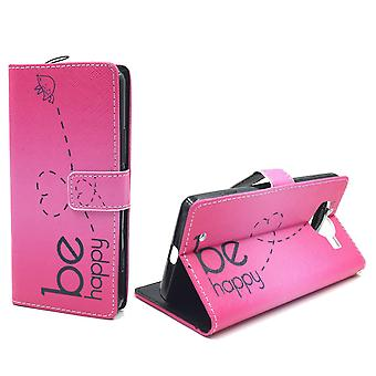 Mobile phone case pouch for mobile Microsoft Lumia 950 be happy pink