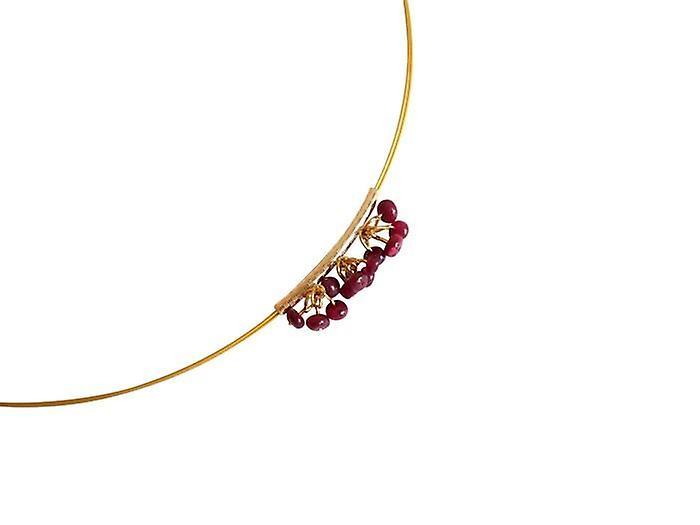 Collier mit Rubinen Halskette LALE Kette mit Anhänger veroret