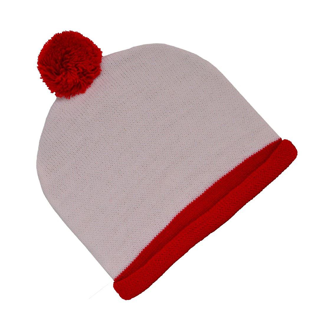 White And Red Bobble Hat