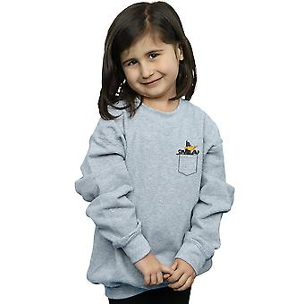 Looney Tunes Girls Daffy Duck Faux Pocket Sweatshirt