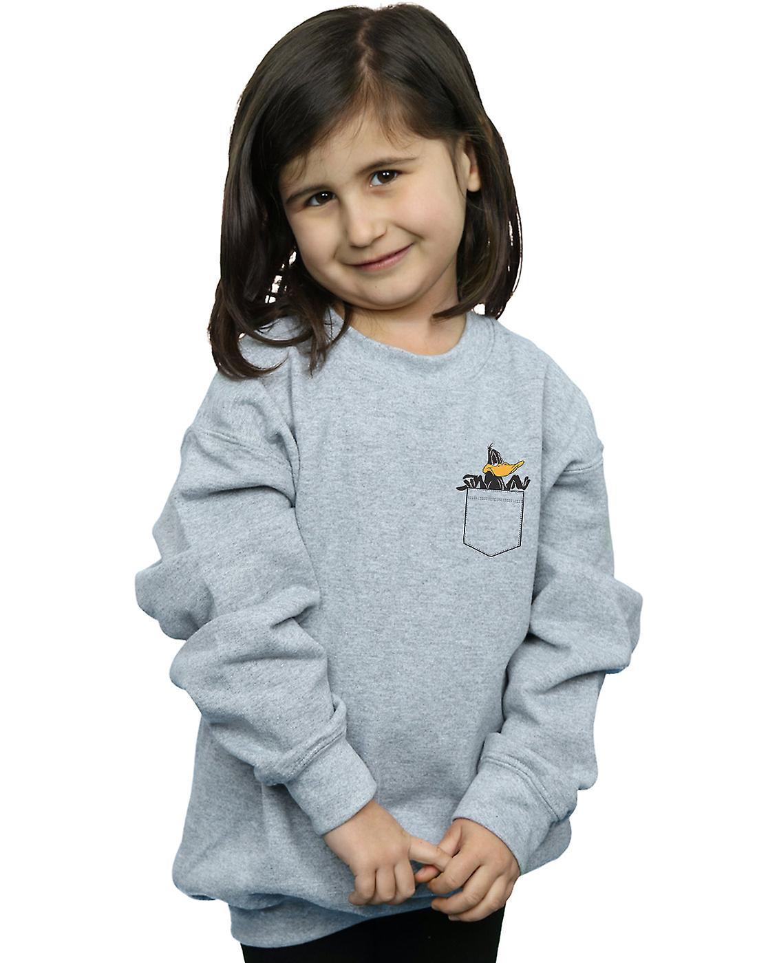 Looney Tunes Girls Daffy Duck Faux Pocket Sweatshirt