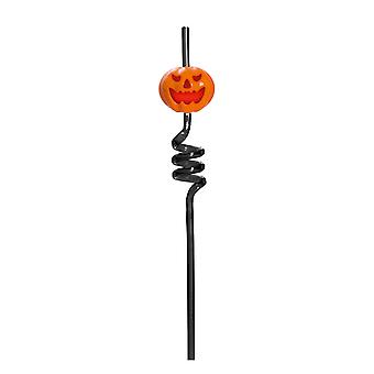 TRIXES Black Pumpkin Spiral Drinking Straw - Flashing and Screaming - for Halloween Parties and Themed Events