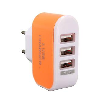 Stuff Certified® 3-pakning Triple (3 x) USB Port iPhone / Android Wall lader Wall lader AC Orange hjem