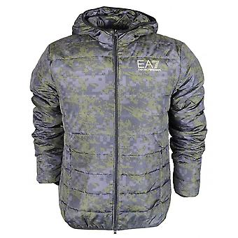 EA7 by Emporio Armani Bomber Hooded Zip Up Fancy Green Jacket