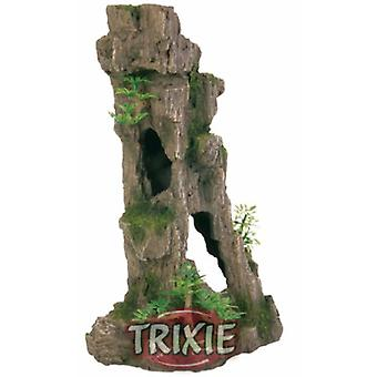 Trixie Rock with plastic plants 37 Cm. (Fish , Decoration , Rocks & Caves)