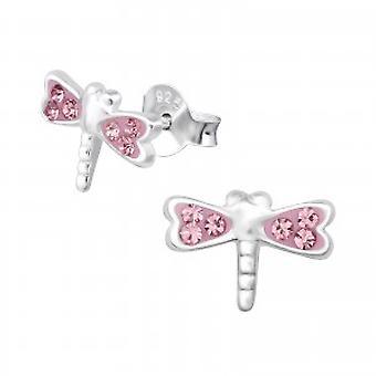 Девочки розовый кристалл серьги стрекозы