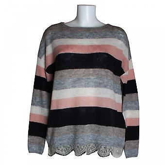 Oui Women's Stripe Knit Jumper With Lace Hem