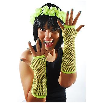 Handschoenen Fishnet handschoenen fel geel