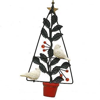 Gisela Graham Christmas Decoration 12013 Gold Metal Turtle Doves In Pot Gisela Graham