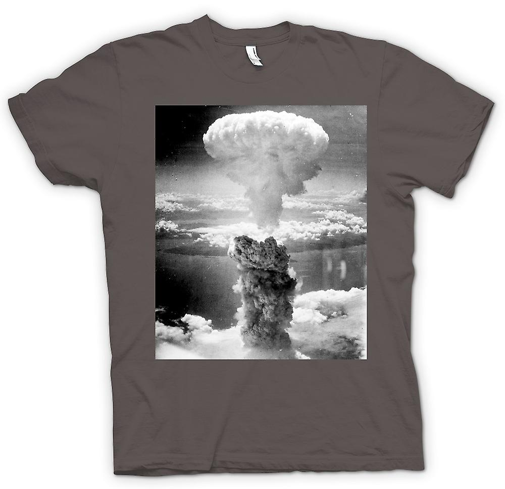 Womens T-shirt - Nuclear Mushroom Cloud  And White