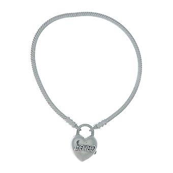 PANDORA Moments Smooth Silver Padlock Bracelet - You Are Loved Heart 925 Sterling Silver - 16cm