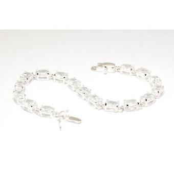 TOC Sterling Silver Clear CZ Set Oval Link Bracelet 7.5