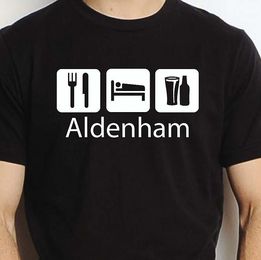 Eat Sleep Drink Aldenham Black Hand Printed T shirt Aldenham Town