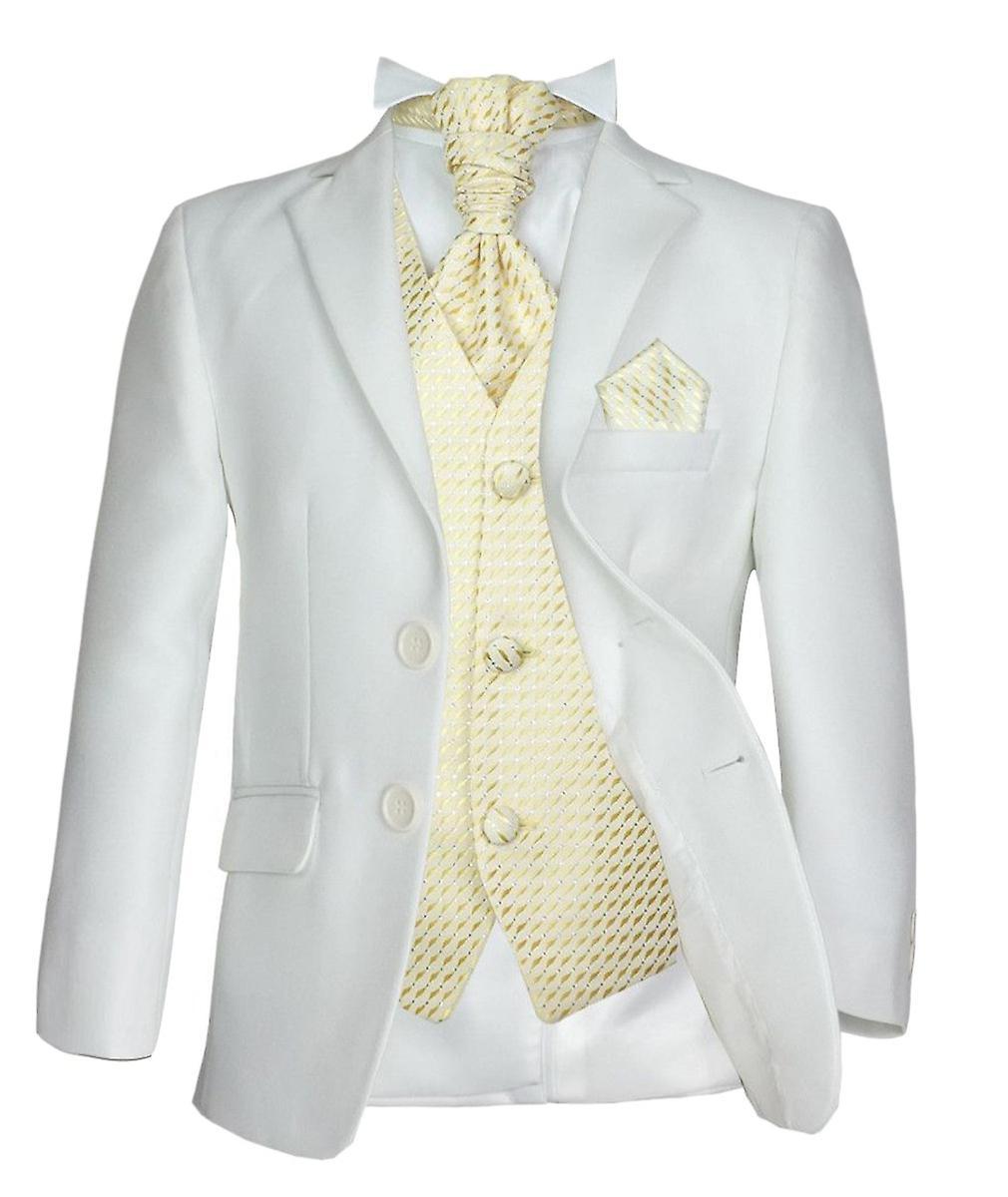 Costume de chasseur garçons 5PC officielle mariage Prom en crème et or