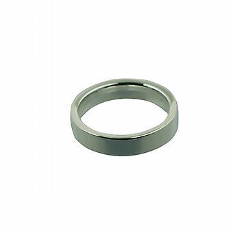9ct White Gold 4mm plain flat Court Wedding Ring Size P