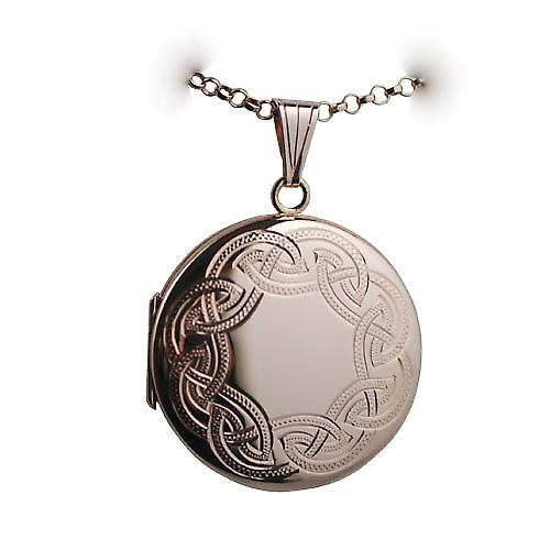 9ct Rose Gold 29mm Celtic engraved round Locket with a belcher Chain 16 inches Only Suitable for Children