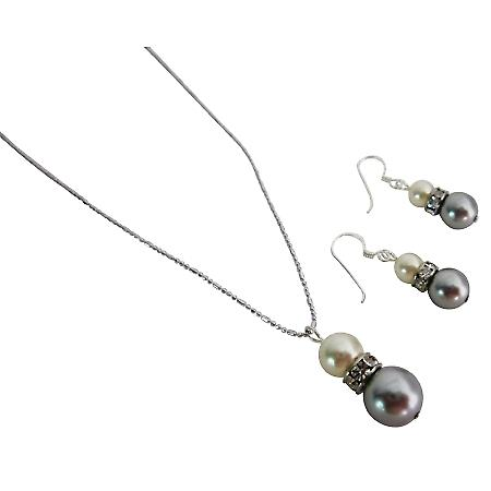 Nice Marvelous Jewelry Cream & Silver Grey Necklace & Earrings Set