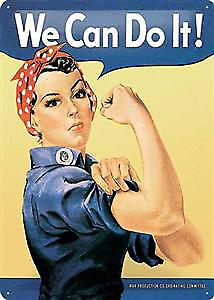 Rosie The Riveter We Can Do It embossed large metal sign  (NA3040)