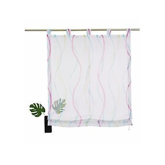 my home curtain transparent Roman shade with colorful loops