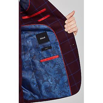 Dobell Mens Burgundy Suit Jacket Slim Fit Notch Lapel Blue Windowpane Check