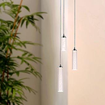 Modern Vintage plafond Meteor 3 lichte kroonluchter hanglamp nikkel ronde luifel