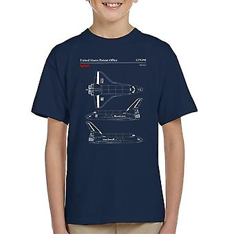 NASA Endeavour Shuttleservice und Side View Blueprint Kid-t-Shirt