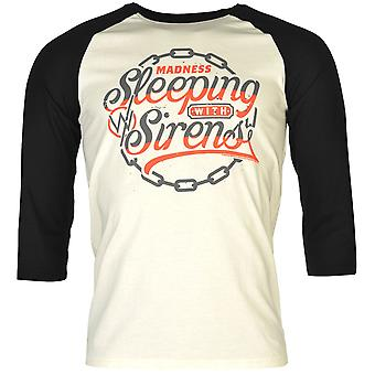 Official Mens Sleeping With Sirens Raglan T Shirt Reinforced Short Sleeve Tee