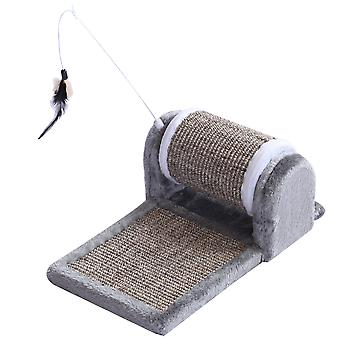 PawHut Cat Scratching Pad Kitty Sofa Bed Play Toy Activity Center Interactive Plush Scratcher Roller Grey
