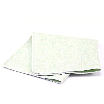 Light green wash out texture tweed wool pocket square