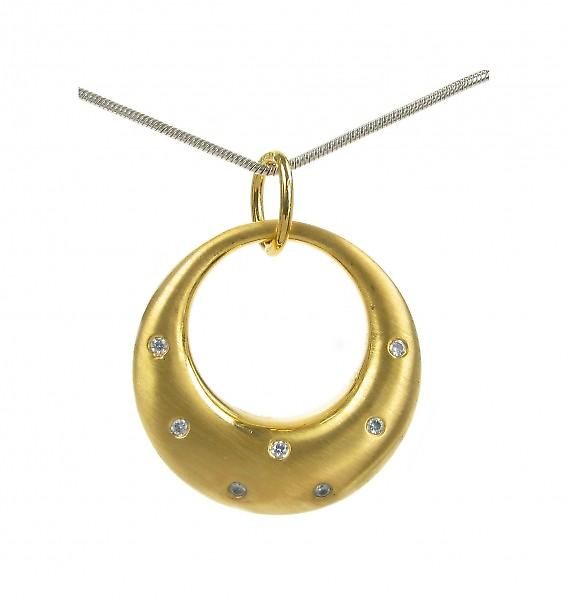 Cavendish French Gold vermeil and CZ eclipse moon pendant