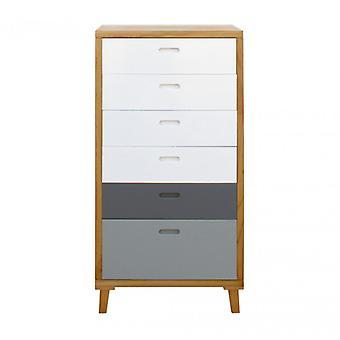 Rebecca Möbeldrescher Schublade 6 Schubladen Modernes graues weißes Holz