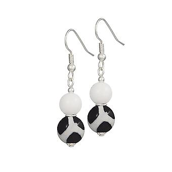 Eternal Collection Portamento White Jade And Black Agate Beaded Drop Pierced Earrings