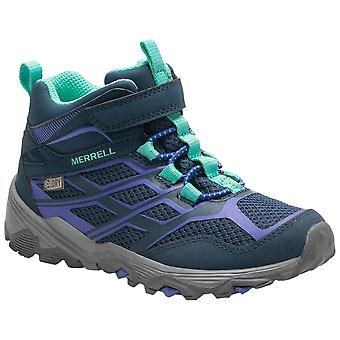 Merrell Navy Childrens Moab FST Mid A/C Wtrp Walking Boots