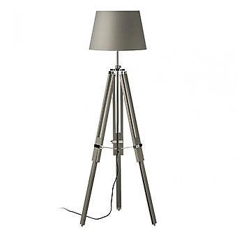 Premier Home Jasper Floor Lamp, Chromed Fabric, Wood, Grey