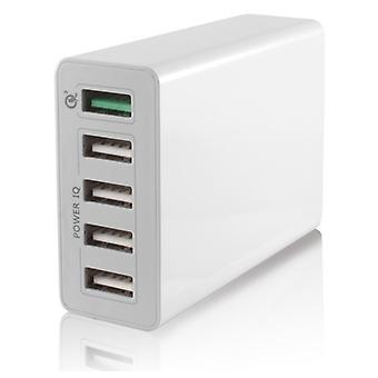 Car 5 10 USB wall charger has white